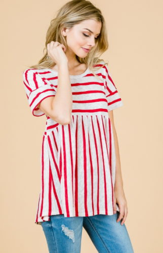 Red & White Stripe Top with Criss Cross Back Detail
