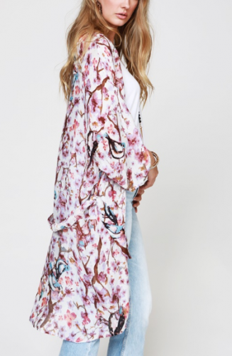 Floral printed kimono with removable waist tie