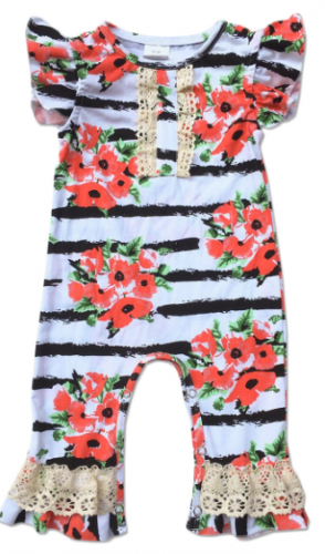 White Beautiful Print Baby romper