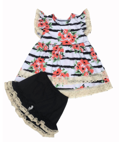 Toddler Floral print ruffle set