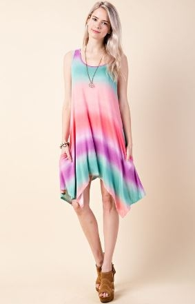 Tie Dye Print Sleeveless Swing Dress With Side Pocket Detail