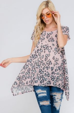 Leopard Print Tunic Short Sleeve Top