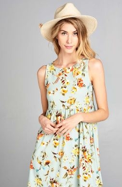 Floral Jersey Brush Printed Sleeveless Babydoll Tunic
