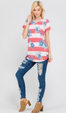 Floral And Stripe Combination Print Short Sleeve Basic Top