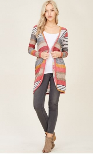 MULTI-COLOR OPEN FRONT KNIT CARDIGAN