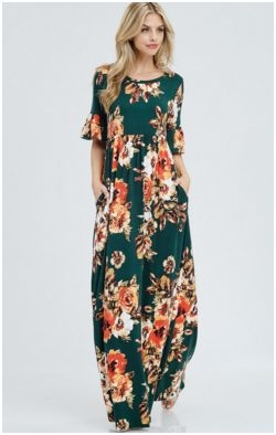 Floral maxi dress with ruffle sleeve and pocket detail