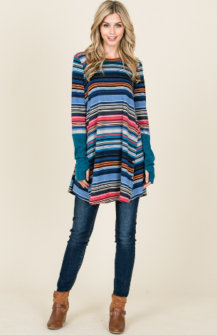 Loose fit striped Sweater Tunic