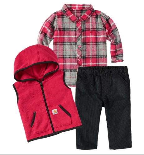 BABY GIRLS' VEST, FLANNEL SHIRT AND PANTS SET