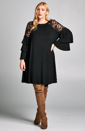 Plus Jersey Dress With Lace Detail Bell Sleeves