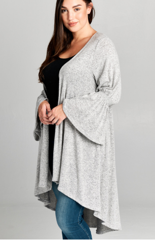 Cardi with Asymmetrical Hem & Bell Sleeves
