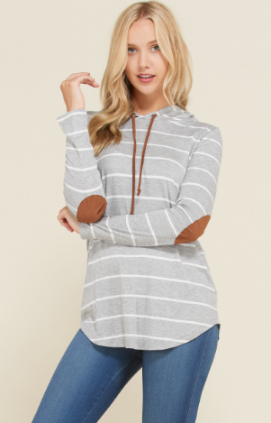HOODIE STRIPE TUNIC WITH ELBOW PATCHES
