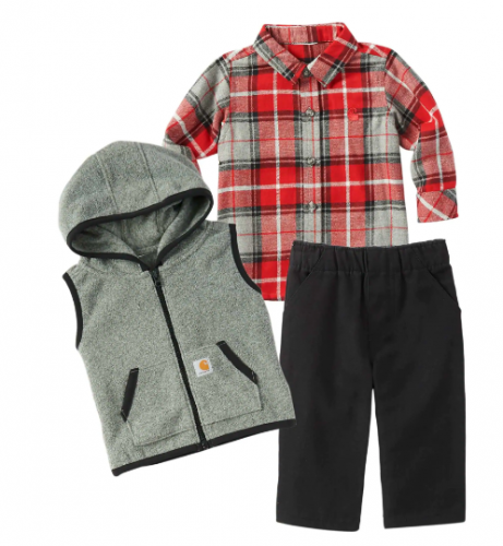 BABY BOYS' VEST, FLANNEL SHIRT AND PANTS SET