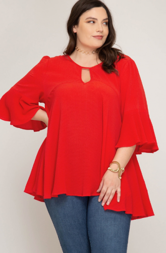 Flowy Flare Sleeve Tunic with Key Hole Detail