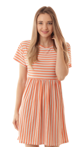 SHORT SLEEVE STRIPE BABYDOLL TUNIC