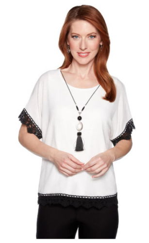 Crochet Trim Top with Tassel Necklace