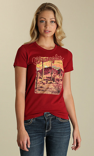 WOMEN'S SHORT SLEEVE DISTRESSED DESERT GRAPHIC TEE