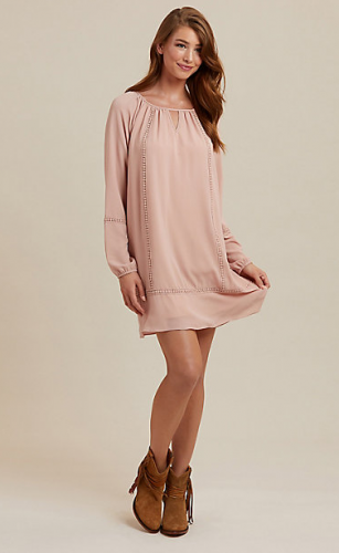 WOMEN'S LONG SLEEVE CROCHET TRIM TUNIC DRESS