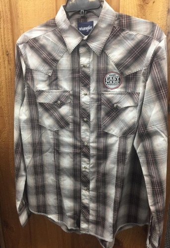 MEN'S EASY CARE LONG SLEEVE WESTERN SNAP PLAID SHIRT