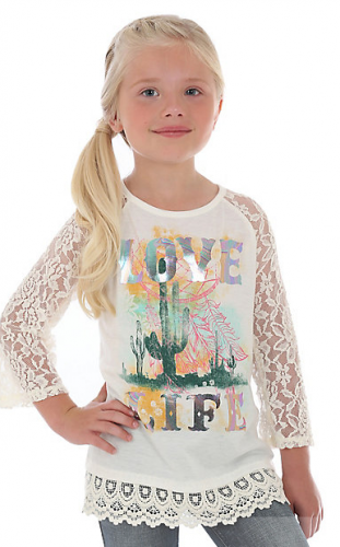 GIRL'S LACE SLEEVE LOVE LIFE GRAPHIC TEE