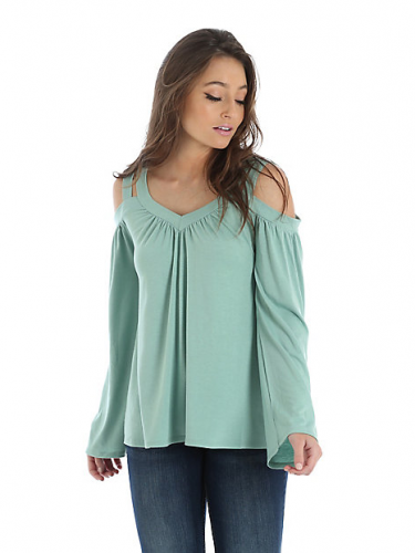LONG SLEEVE COLD SHOULDER V-NECK PEASANT BLOUSE