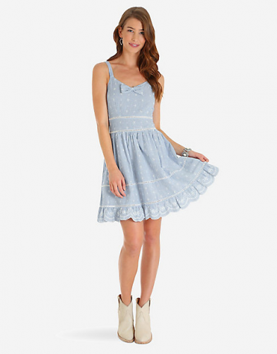 SLEEVELESS SEERSUCKER EYELET DRESS