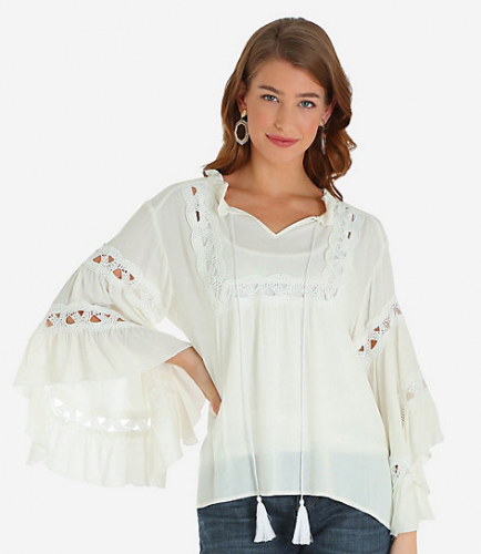 BELL SLEEVE TASSEL NECK PEASANT BLOUSE