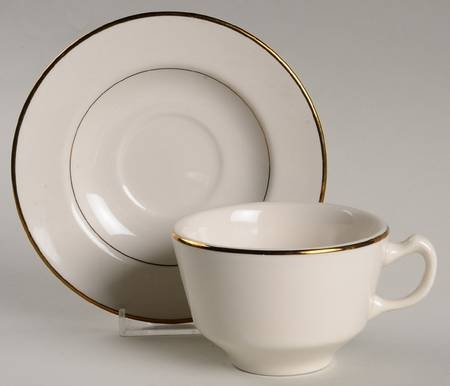Coffee Saucer, Ivory w/ gold trim