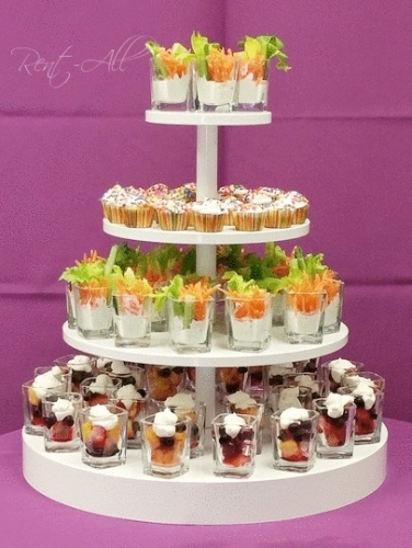 4 Tiered Round White Cup Cake Tree