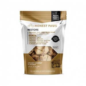 Honest Paws® Creamy Coconut Healthy Coat Restore Bites CBD Treats