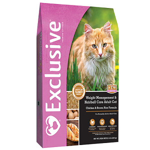 Exclusive® Chicken & Brown Rice Hairball Control Adult Cat Light Formula