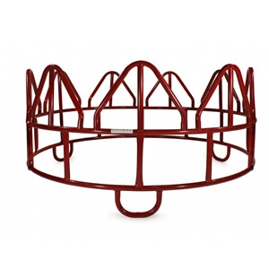 Red 3-Piece Horse Hay Feeder With Loop Legs - Open