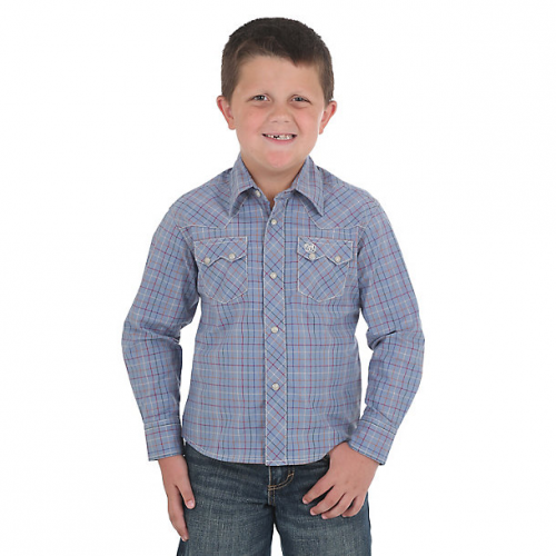 Boy's Retro Western Snap Plaid Shirt with Front Sawtooth Pockets