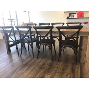 One 8' Farm Table and Eight X-Back Chairs Package