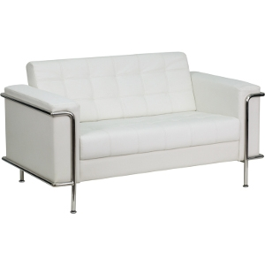 White Leather Love Seat Couch