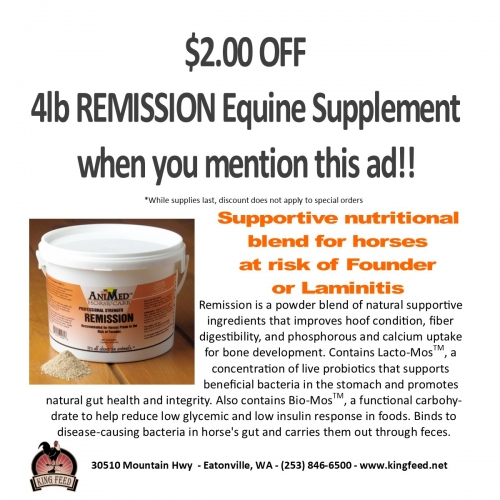 $2 Off 4 Lb Remission Equine Supplement