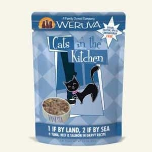 Cats in the Kitchen 1 if By Land, 2 if By Sea Tuna, Beef & Salmon in Gravy