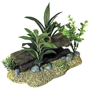 Exotic Environments® Log Cavern with Plants