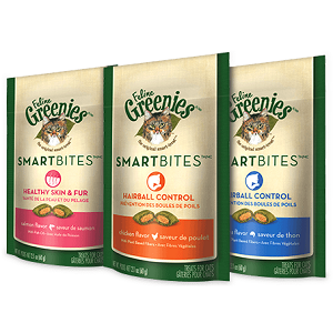 Feline Greenies Smartbites Healthy Skin & Fur - Chicken Flavored