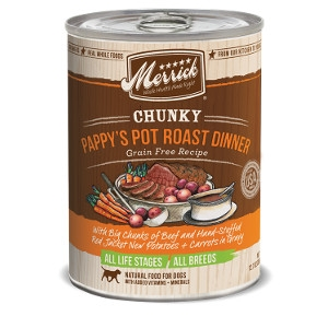 Merrick Chunky Pappy's Pot Roast Dinner Grain Free Recipe for Dogs- 12.7oz