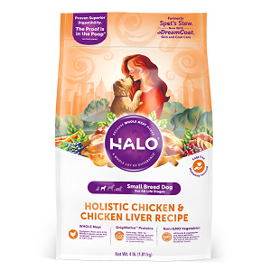 Halo Holistic Chicken and Chicken Liver Recipe for Small Breed Dogs, 4/10 lb.