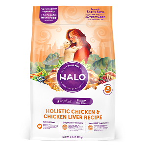 Halo Holistic Chicken and Chicken Liver Recipe for Puppies, 4/10 lb.