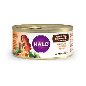 Halo Small Breed Grain Free Chicken and Chickpea Recipe for Dogs, 12/5.5 oz.