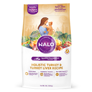 Halo Holistic Sensitive Stomach Turkey and Turkey Liver Recipe for Cats 6/3 lb.