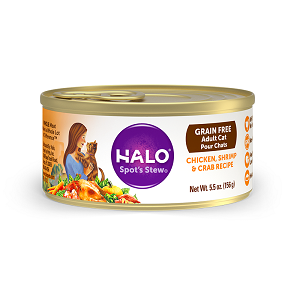 Halo Holistic Grain Free Chicken, Shrimp, and Crab Recipe for Adult Cats 12/3 oz.