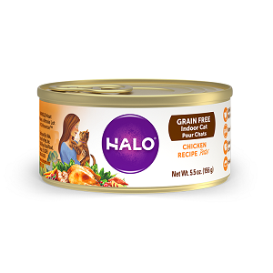 Halo Grain Free Indoor Cat Chicken Recipe Pate 12/5.5 oz