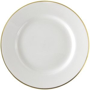 10 Strawberry Street, Homerlaughlin China, Ivory with gold rim band Dinner Plate