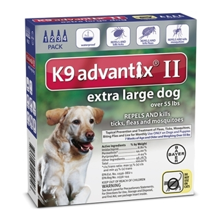 Bayer K9 Advantix II Flea Treatment for Extra Large Dogs 4 Pack