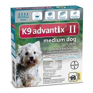 Bayer K9 Advantix II Flea Treatment for Medium Dogs 4 Pack
