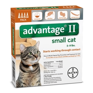 Bayer Advantage II Flea & Lice Treatment for Small Cats 4 Pack