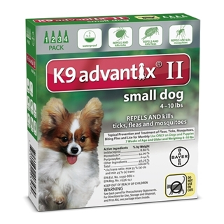 Bayer K9 Advantix II Flea Treatment for Small Dogs 4 Pack